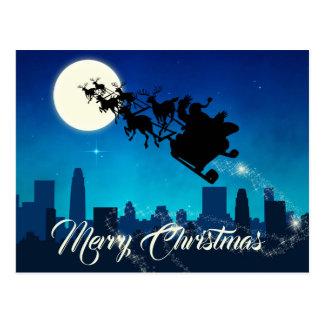 サンタクロースのそりのクリスマス-郵便はがき ポストカード
