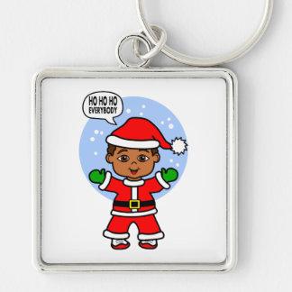 サンタクロースのように服を着る漫画の男の子 キーホルダー
