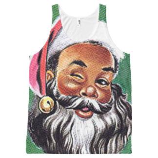 サンタクロースのアフリカ系アメリカ人の黒いクリスマス オールオーバープリントタンクトップ