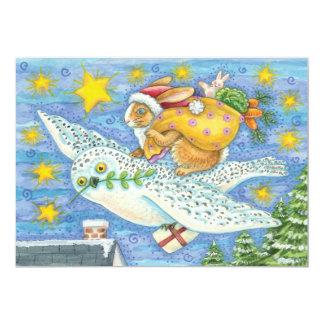 サンタクロースのウサギおよびフクロウのクリスマスの招待状 12.7 X 17.8 インビテーションカード