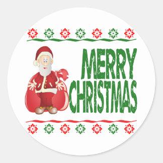サンタクロースのギフトバッグの醜いクリスマスのセーター ラウンドシール