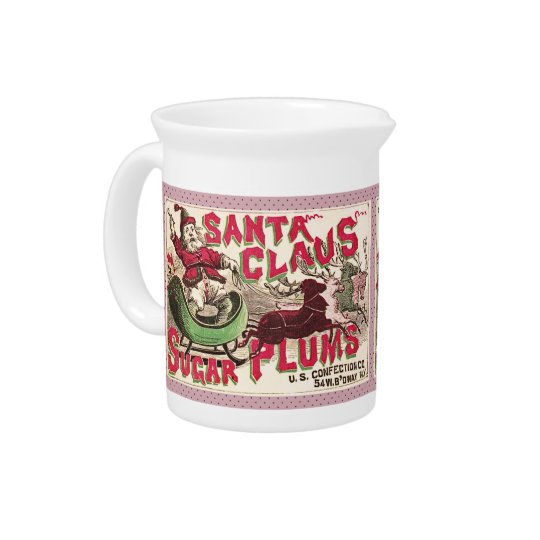 サンタクロースのクリスマスの砂糖のプラムキャンデー 飲み物ピッチャー