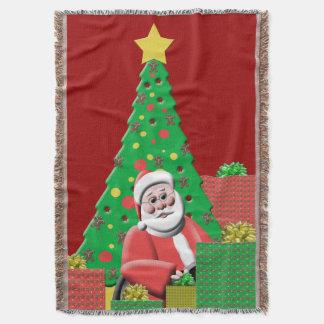 サンタクロースのクリスマスツリーの緑および赤 スローブランケット