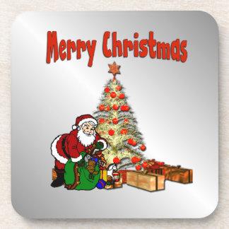 サンタクロースのクリスマスツリー コースター