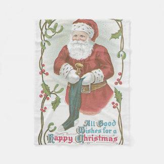 サンタクロースのストッキングのおもちゃのヒイラギのヤドリギ フリースブランケット