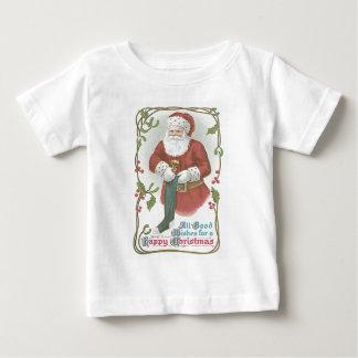 サンタクロースのストッキングのおもちゃのヒイラギのヤドリギ ベビーTシャツ