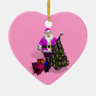 サンタクロースのピンクのリボン セラミックオーナメント