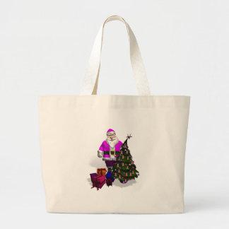 サンタクロースのピンクのリボン ラージトートバッグ
