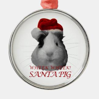 サンタクロースのブタのモルモットのクリスマスの休日 メタルオーナメント