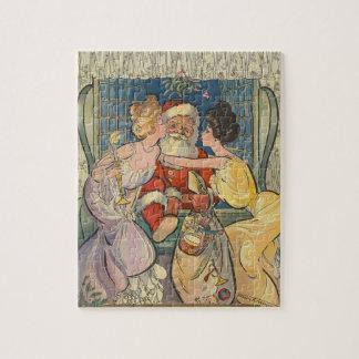 サンタクロースのヴィンテージのクリスマスの接吻 ジグソーパズル