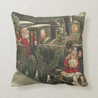 サンタクロースの列車のヒイラギの花輪の子供 クッション