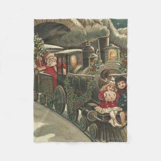 サンタクロースの列車のヒイラギの花輪の子供 フリースブランケット