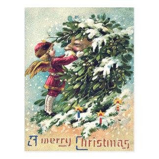 サンタクロースの天使の天使のヤドリギ ポストカード