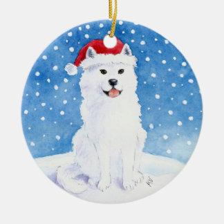 サンタクロースの帽子のクリスマスのオーナメントのSamoyed犬 セラミックオーナメント