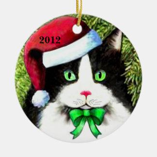 サンタクロースの帽子のクリスマス猫のオーナメント セラミックオーナメント