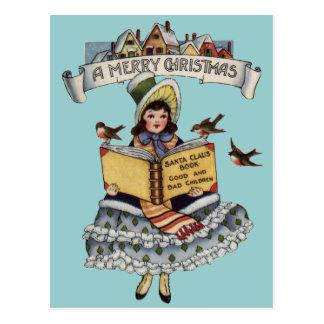 サンタクロースの本を持つヴィンテージの子供 ポストカード