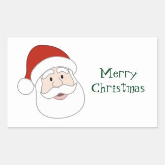 サンタクロースの絵及び文字 長方形シール