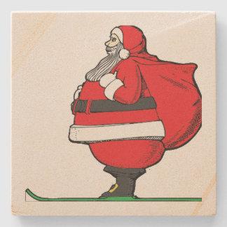 サンタクロースの脂肪質のスキーのクリスマス ストーンコースター