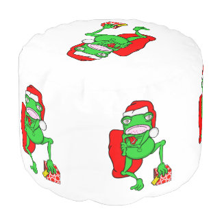 サンタクロースの赤い帽子を身に着けているおもしろいなカエル プーフ