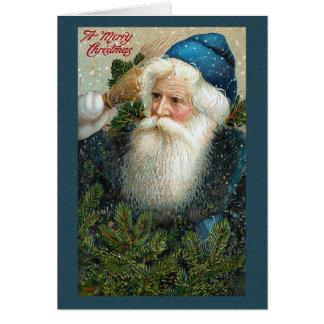 サンタクロースの雪片のクリスマスカード カード