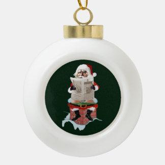 """サンタクロースの""""パーティのPooper""""のクリスマスオーナメント セラミックボールオーナメント"""