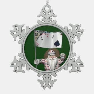 サンタクロースはトランプのポーカーを遊ぶことを愛します スノーフレークピューターオーナメント
