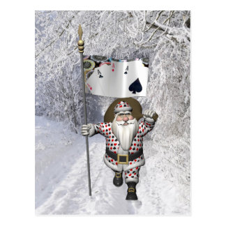サンタクロースはトランプのポーカーを遊ぶことを愛します ポストカード
