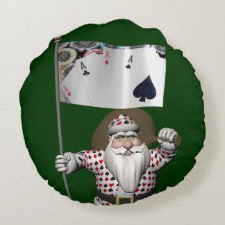 サンタクロースはトランプのポーカーを遊ぶことを愛します ラウンドクッション