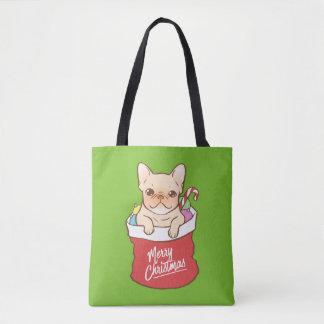 サンタクロースはFrenchieと来ます トートバッグ