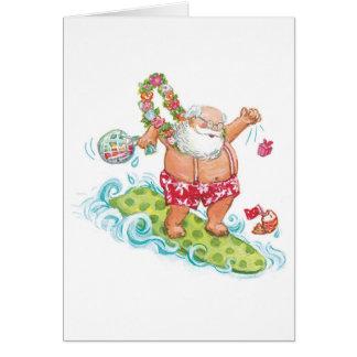 サンタクロースをサーフするヴィンテージのクリスマスの漫画 カード