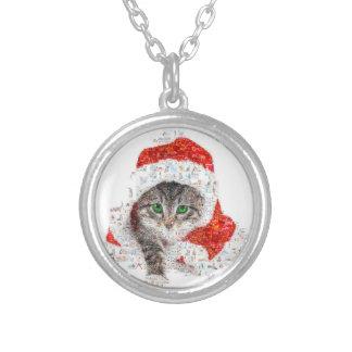 サンタクロース猫-猫のコラージュ-子猫-猫愛 シルバープレートネックレス