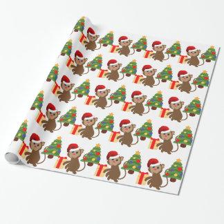 サンタクロース猿のemoji ラッピングペーパー