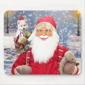 サンタクロースwのクリスマスのギフトのアメリカのエスキモー犬 マウスパッド