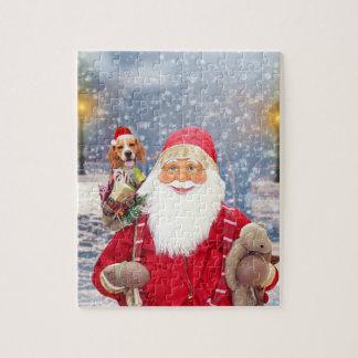 サンタクロースwのクリスマスのギフトのビーグル犬犬 ジグソーパズル