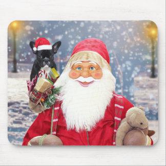 サンタクロースwのクリスマスのギフトのフレンチ・ブルドッグ マウスパッド