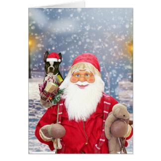 サンタクロースwのクリスマスのギフトのボストンテリア犬 グリーティングカード
