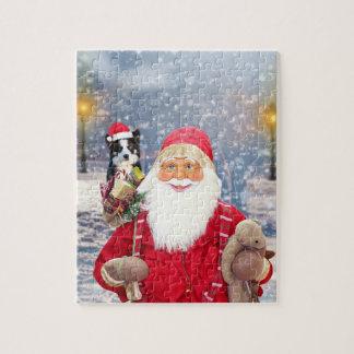 サンタクロースwのクリスマスのギフトのボーダーコリー犬 ジグソーパズル