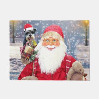 サンタクロースwのクリスマスのミニチュア・シュナウツァー犬 ドアマット