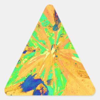 サンタフェは黄色を酸性染料で色落ちさせます 三角形シールステッカー
