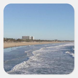 サンタモニカのカリフォルニアの海岸線 スクエアシール