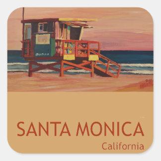 サンタモニカのビーチのレトロポスター スクエアシール
