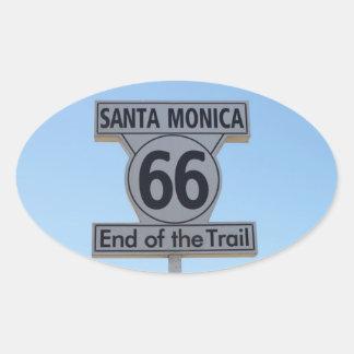 サンタモニカのルート66のステッカー 楕円形シール