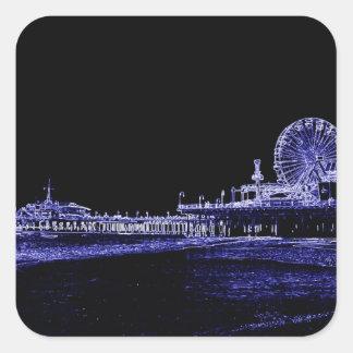 サンタモニカ桟橋青いネオン夜写真は編集します スクエアシール