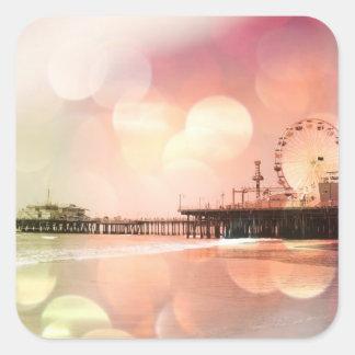 サンタモニカ桟橋-きらめくなピンクの写真は編集します スクエアシール