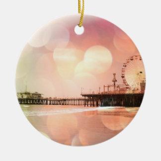サンタモニカ桟橋-きらめくなピンクの写真は編集します セラミックオーナメント