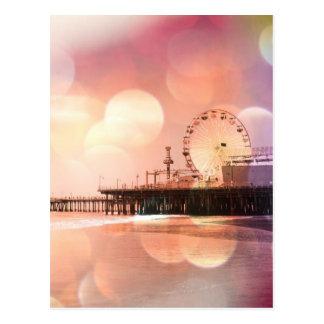 サンタモニカ桟橋-きらめくなピンクの写真は編集します ポストカード