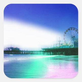サンタモニカ桟橋-青緑の写真は編集します スクエアシール