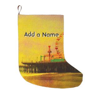 サンタモニカ黄色い紫色の桟橋 ラージクリスマスストッキング