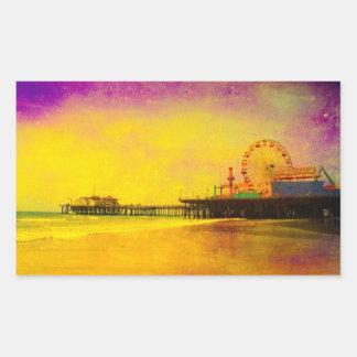 サンタモニカ黄色い紫色の桟橋 長方形シール
