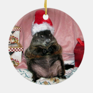 サンタモーゼペットGroundhogのクリスマスのオーナメント セラミックオーナメント
